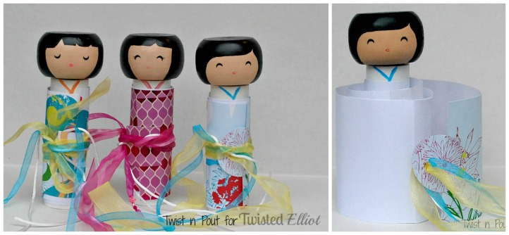 spring kokeshi  doll Collage
